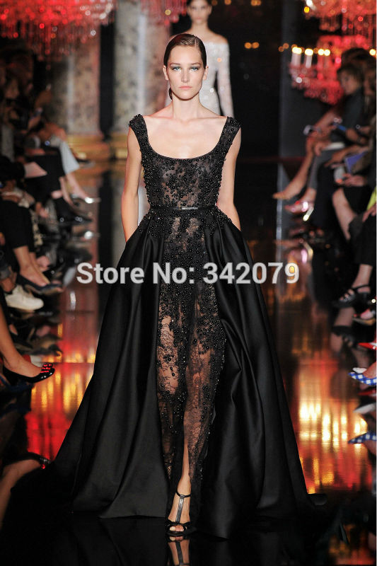 c3661ae8a0 ph11213 long black dress tulle deep v neckline 2015 haute couture ...