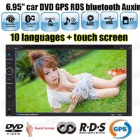 6.95 inch 2DIN Car Stereo DVD GPS Navigation AM FM Radio Bluetooth USB TF Player RDS touch screen 10 languages AUXIN