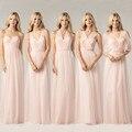Peachy rosa Vestido da dama De longo Chiffon barato casamento Vestido De Festa Vestido De Festa Custom cor e tamanho Mix estilo Vestido Formal