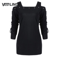 VESTLINDA Solid Color Women Winter T Shirt Tops Rivet Cold Shoulder Lace Up Long Sleeve T