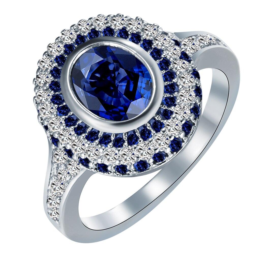 Красивые свадебные кольца для женщин Leady большой круглый Королевский синий цвет Crystal White CZ палец ювелирные изделия Роскошные Обещание Кольц...