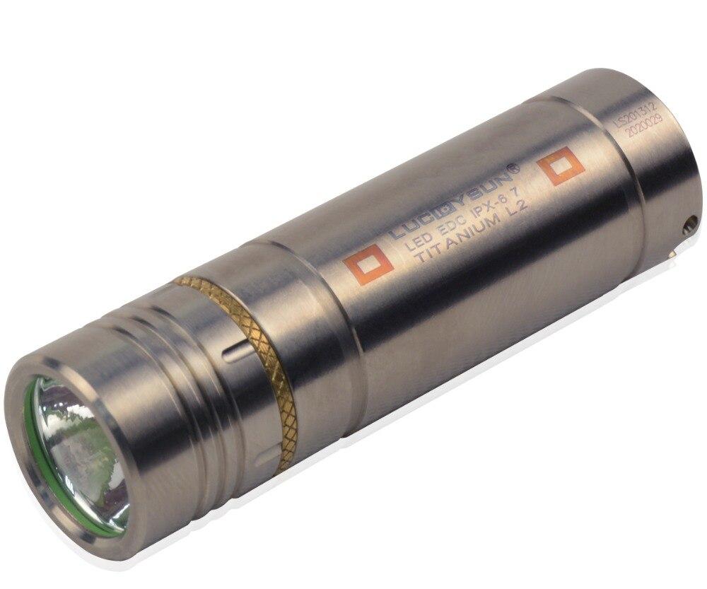 LUCKYSUN TI20 Titanium LED Flash Light Keychain Mini Titan lantern 16340 Torch with Cree led bulb cool white