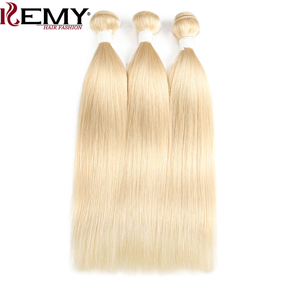 KEMY HAIR FASHION Brazilian Straight Human Hair Bundle Deals 2/3Pcs Non-Remy 613 Blonde Hair Weaving 8 to 22 Inch Free Shipping