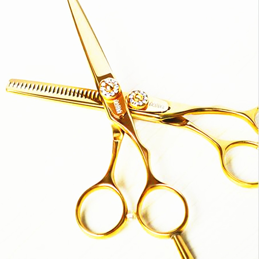 Professional 6 & 5.5 Inch Germany 440c Golden Cut Hair Scissors Set Cutting Barber Makeup Thinning Shears Hairdressing Scissors