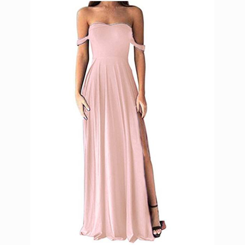 Sexy Sweetheart Women's A Line   Bridesmaid     Dresses   Off-Shoulder Sexy Long Prom Party Wear   Dress   Side Slit Bridal Gown Custom Made