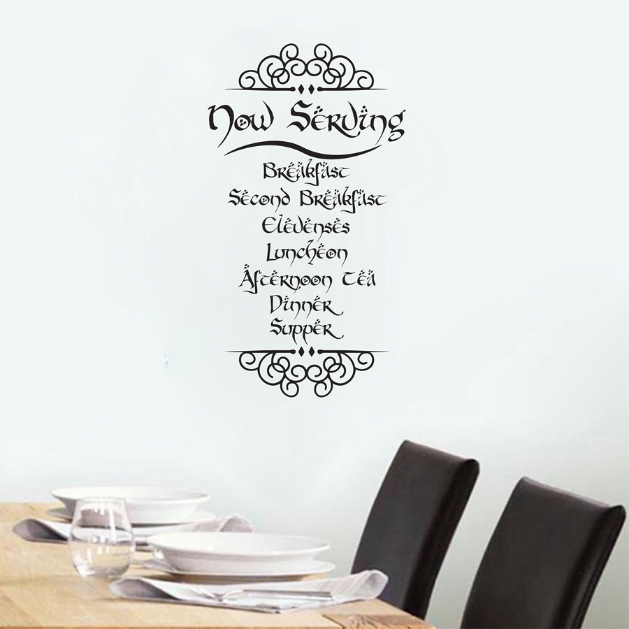 The hobbit tolkien inspired meal quotes vinyl wall sticker - Sticker citation cuisine ...