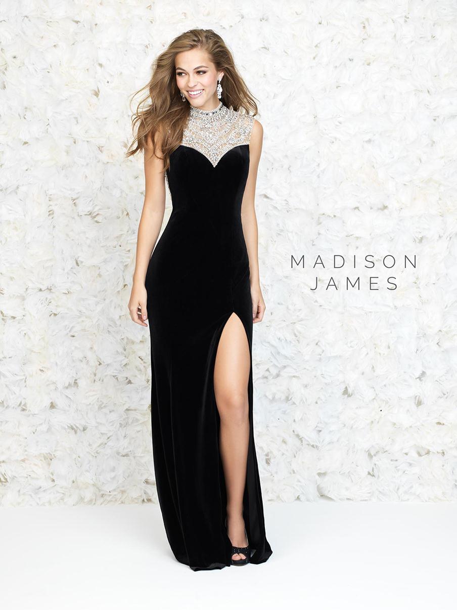 High Neck Black Velvet Evening Dress 2016 Formal Long Side Split ...