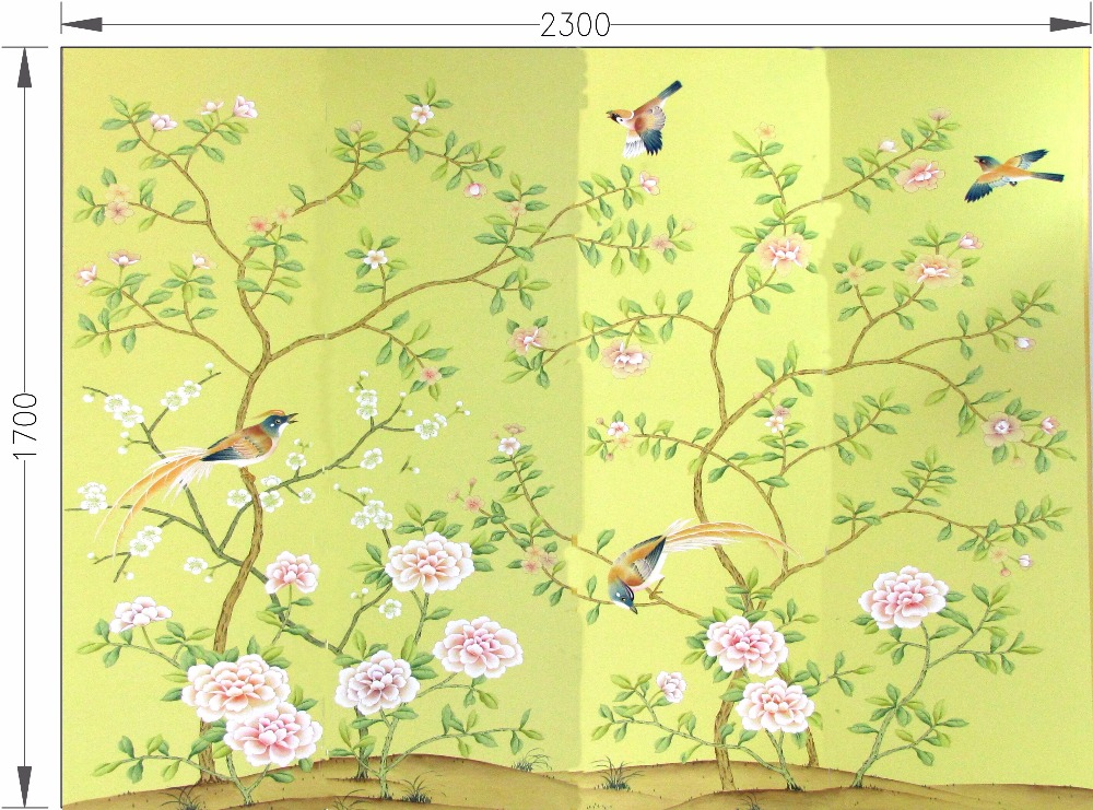 Customized decoration Hand painted silk wallpaper painting birds and flower hand-painted wall paper many arts/backing optional diy beads painting flower cross stitch wall decoration
