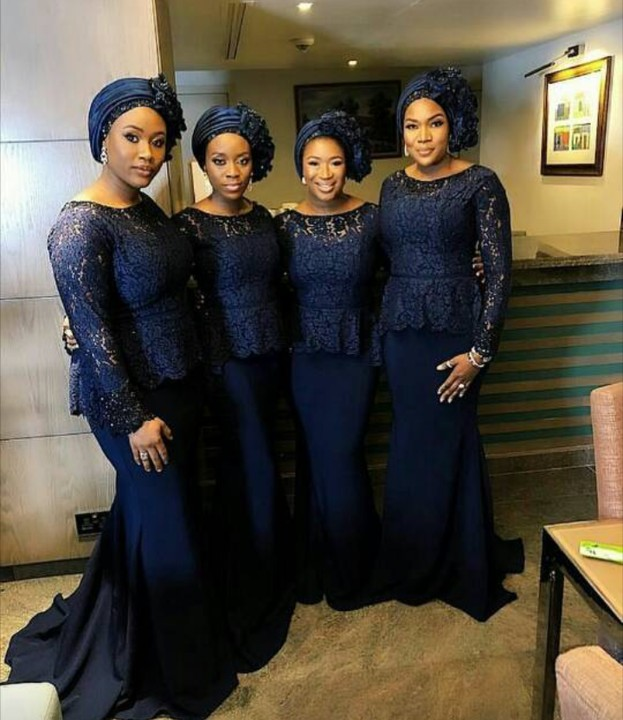 2019 Navy Blue   Bridesmaid     Dresses   Long Sleeve African Maid Of Honor   Dresses   Lace Zipper Up Wedding Guest   Dresses   Plus Size