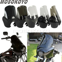 Спереди лампа обтекателя черный дым ясно ретро-фара обтекатель Маска для Harley Dyna Super Glide Low Rider FXD FXR FXS Tall Экран