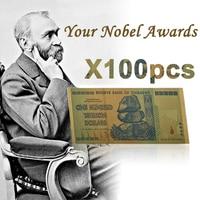 100pcs Replica 24K Gold 100 Trillion Dollars Zimbabwe Fake Paper Money Gold Banknote Zimbabwe Trillion Dollar for Christmas Gift