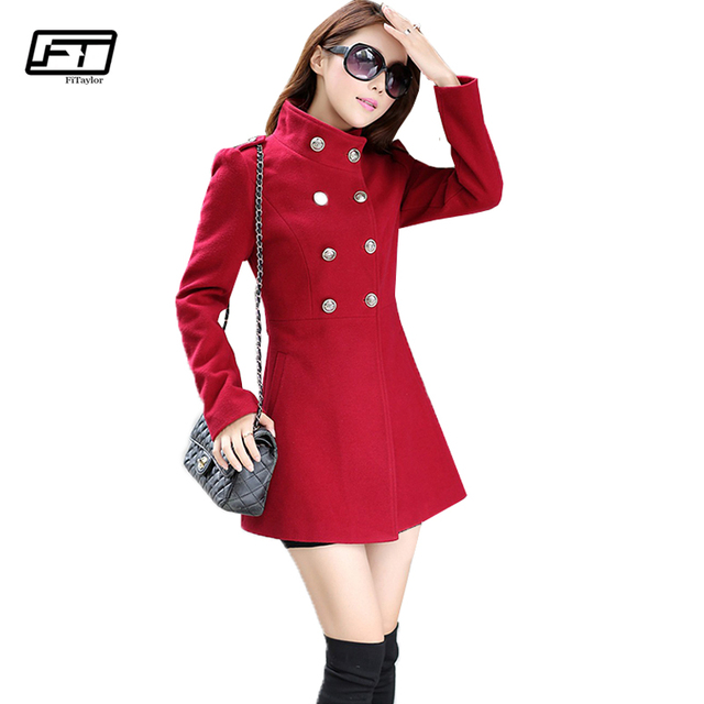 52226a4a53e Fitaylor Woman Wool Coat Winter Jacket Women Vintage Double Breasted Slim Woolen  Long Jackets Plus Size