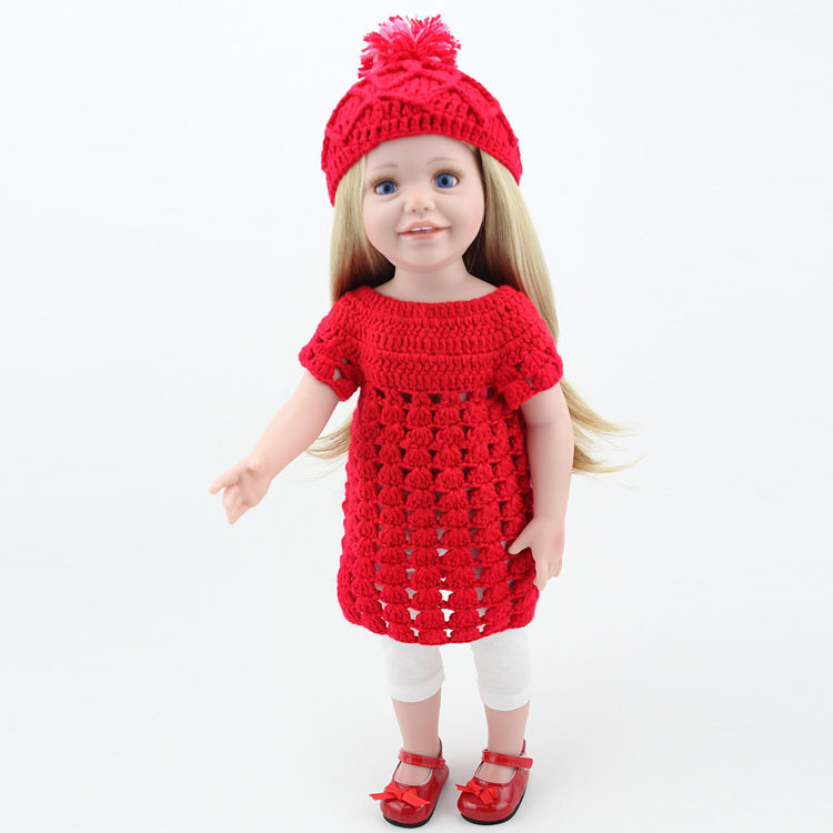 Boxed Real Looking  Baby Girl Doll With Handmade Red Hat Dress Fashion Girls Play Toy 18 inch Blond HairBoxed Real Looking  Baby Girl Doll With Handmade Red Hat Dress Fashion Girls Play Toy 18 inch Blond Hair