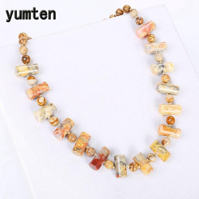 Yumten kolorowe Jade duży naszyjnik kobiety kryształ komunikat biżuteria mężczyźni moda kamień Reiki moc kamień akcesoria hurtownie
