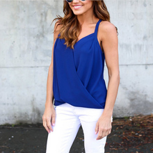 Women Summer  Sexy Sling V-Neck Chiffon Shirt Blouse Lady Sexy ChiffonTop Shirt Vest  Female Sleeveless Blusa Cool Blouse
