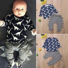Новейший комплект одежды для маленьких мальчиков топы с принтом