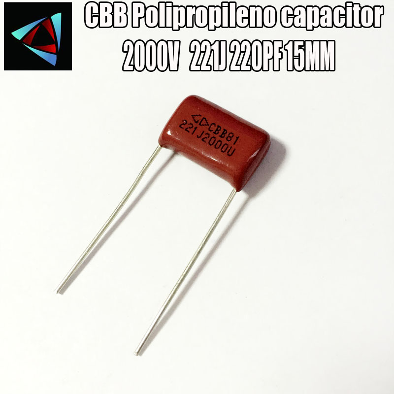 20PCS 2000V 2KV 221J 220PF P15 Polypropylene Film Capacitor Pitch 20mm