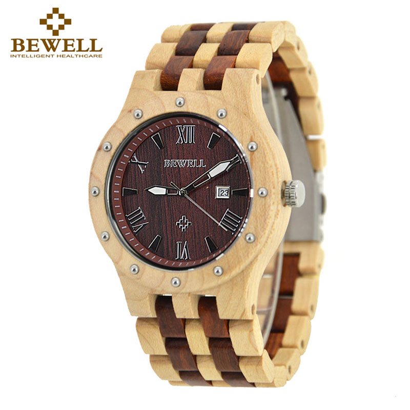 BEWELL Men Watches 2017 Luxury Brand Male Watch Digital Wood Watch Dropshipping Quartz Wristwatches With Calendar Function 109A bewell sports ebony wood watch mens luxury quartz fitness strap acrylic blcak calendar fashion winder saat wristwatches montre