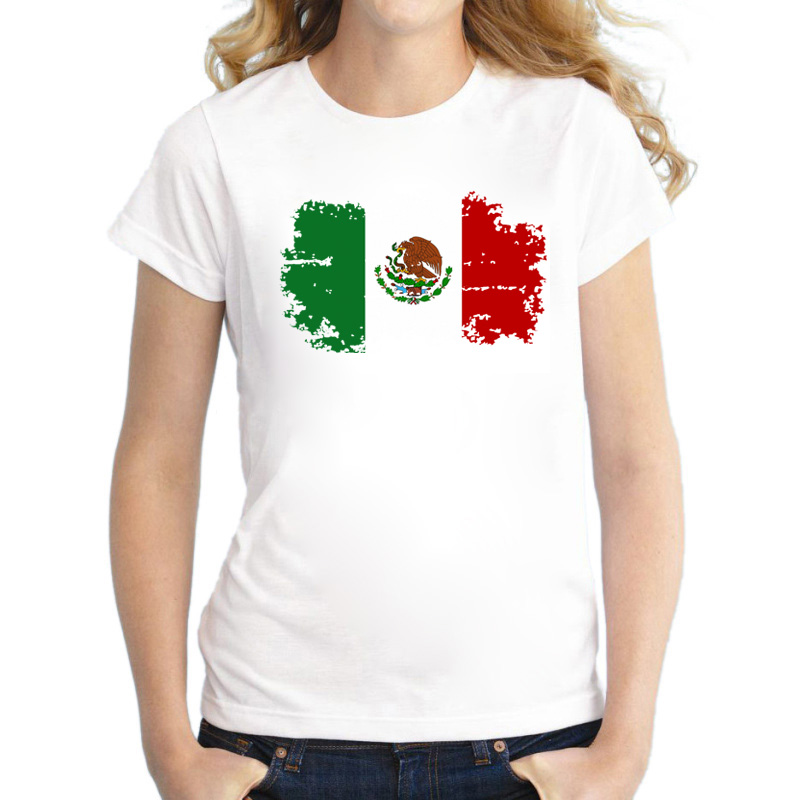 BLWHSA New Summer MEXICO National Flag T Shirts For Women Casual Cotton Clothing Fans Cheer Classic Women Tee Shirt Top