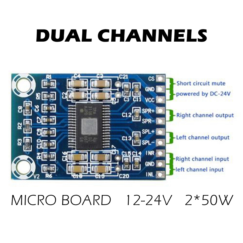 Dual Channel Digital Audio Power Amplifier Board Module HW-710 TPA3116D2 Chip 2 Channels Stereo 2*50W Ultra-thin Amplifier Chips