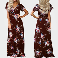 2019 Sexy V Collar Short Sleeve Loose Waist Printed Long Dress Elegant Women Chiffon Party Club Dress Bohemian Beach Vestidos все цены
