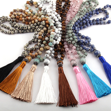 Free Shipping Bohemian Tribal Jewelry Fashion Natural Semi Precious Stones Knotted Handmake Paved Stone Tassel Necklace