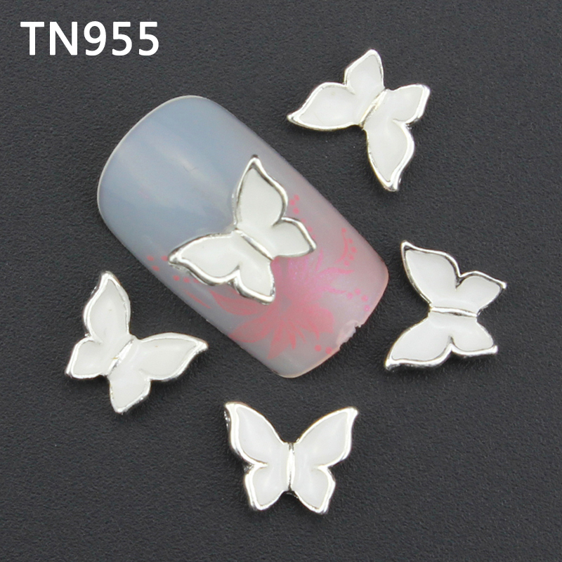 10pc/lot Glitter Butterfly Rhinestones 3d Nail Art Decorations New Arrive Alloy Nail Charms Jewelry for Nail Manicure TN955 5pcs nail art rings glitter square strass rhinestones nails decorations new arrive 3d nail jewelry nail art bows charms mns743