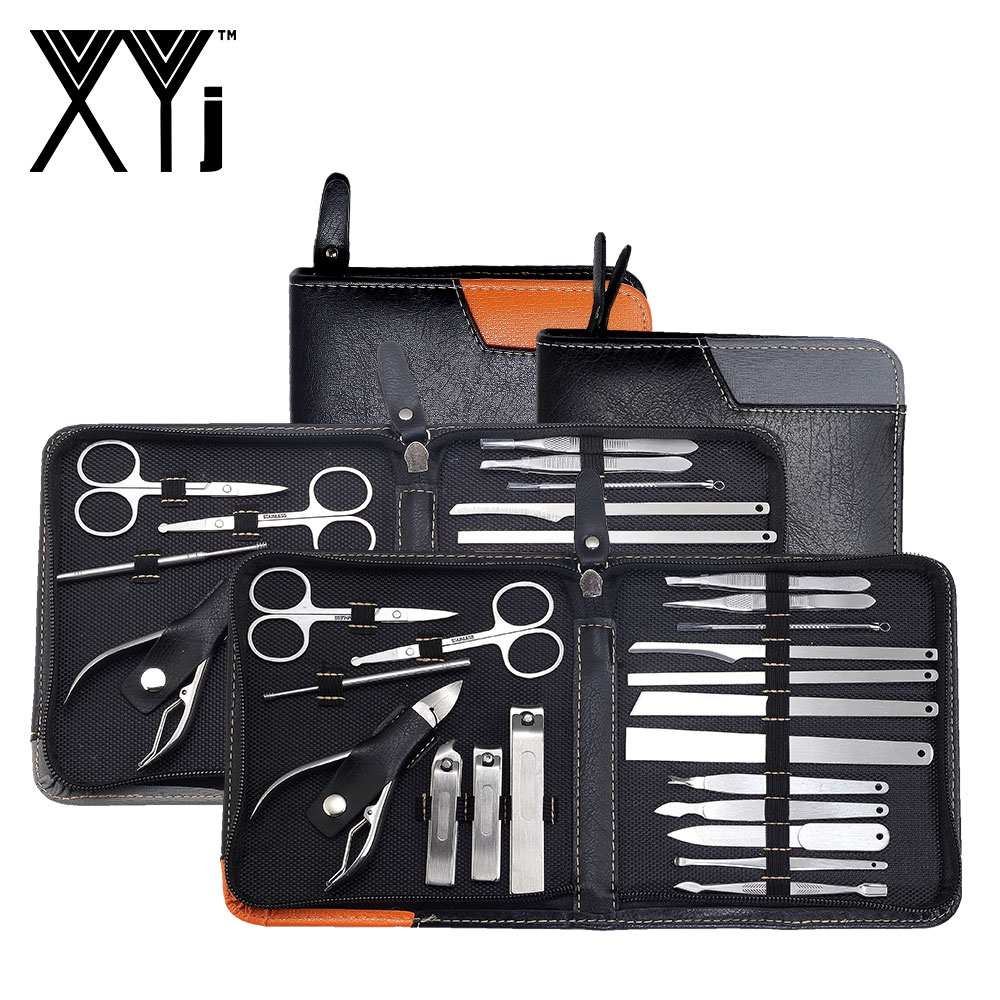 XYj Professional Manicure Set 19 In 1 Nail Care Pedicure Kit Acne Extractor Nail Art Tool Set Nail Clipper Tweezer Beauty Tools