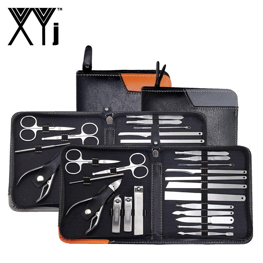 XYj manucure professionnelle Ensemble 19 dans 1 Soins Des Ongles Pédicure Kit Acné Extractor Nail art Tool Set Nail Clipper Brucelles Beauté Outils
