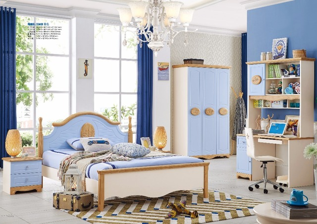 US $43.5 |JLMF3362 Modern bedroom furniture set solid wood healthy children  bedroom furniture set bed wardrobe desk bedside table chair-in Children ...
