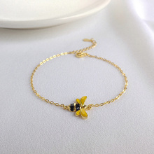 Honey Bee Chain Link Women Bracelet Genuine 100% 925 Sterling Silver Honeycomb charm Bracelets Golden cute Beads Jewelry