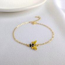 Mel de Abelha Elo Da Cadeia Mulheres Pulseira Genuíno 100% Pulseiras de Prata Esterlina 925 charme Favo De Mel Dourado bonito Abelha Beads Jewelry