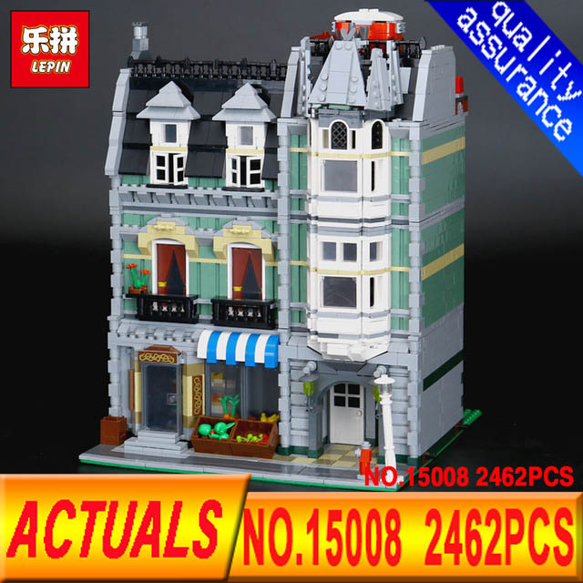 Lepin 15008 City Street Green 2462Pcs Grocer Model Building Kits Blocks Bricks Compatible Educational toys 10185 lepin 15008 2462pcs city street green grocer legoingly model sets 10185 building nano blocks bricks toys for kids boys