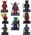 Marvel Super Heroes 8 unids DC Película Deadpool Joker Mini Bloques Minifig Superhéroes Figuras de Juguete Compatible legoINGlys