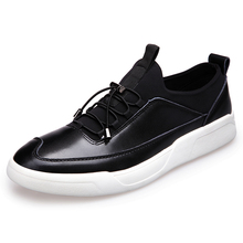 New 2017 Men's Genuine Leather Casual Shoes Korean Fashion Style Breathable Male Shoes Men Spring Autumn Slip-On Low Top Loafers