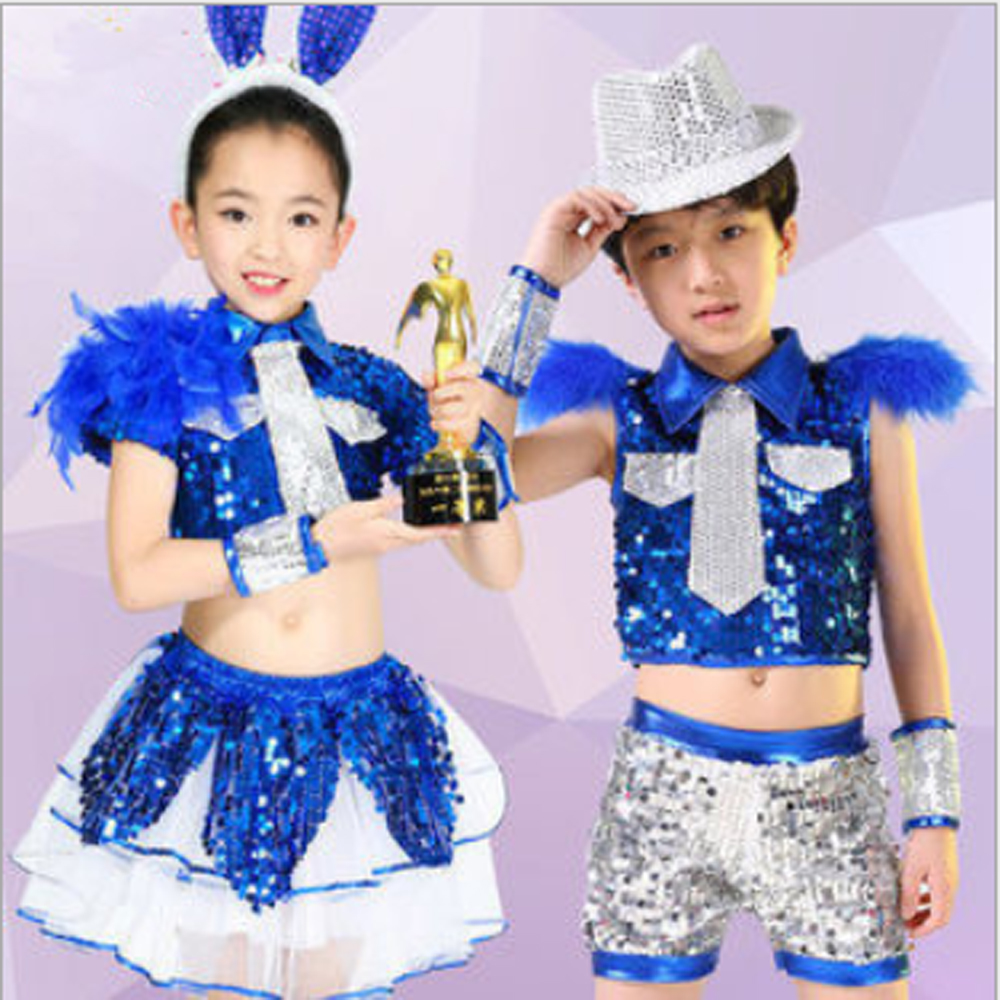 Free shipping Children's performance clothing boys  girls sequined hip - hop jazz dance costumes suit for kids actors