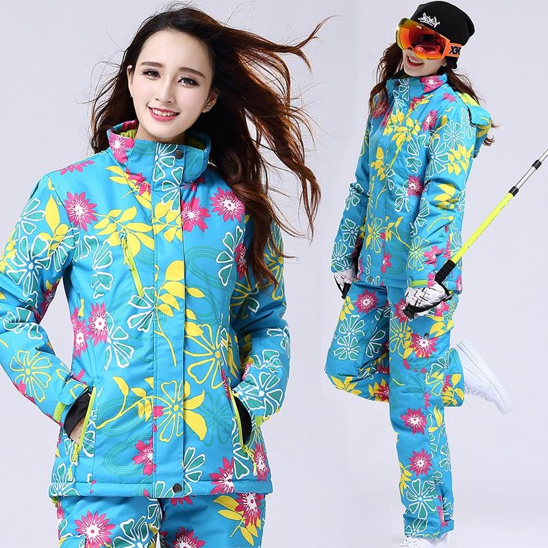 Women Flora Ski Snow Jacket + Long Pants Breathable Waterproof Warm Winter Womens Ski Suit for Snowboarding Camping Hiking S-XXL brand gsou snow technology fabrics women ski suit snowboarding ski jacket women skiing jacket suit jaquetas feminina girls ski