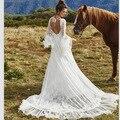 Bohemian Wedding Dress 2017 Flare Sleeve Lace Wedding dresses V-Neck Backless Boho Beach Bridal Gown Vestido de noiva de renda