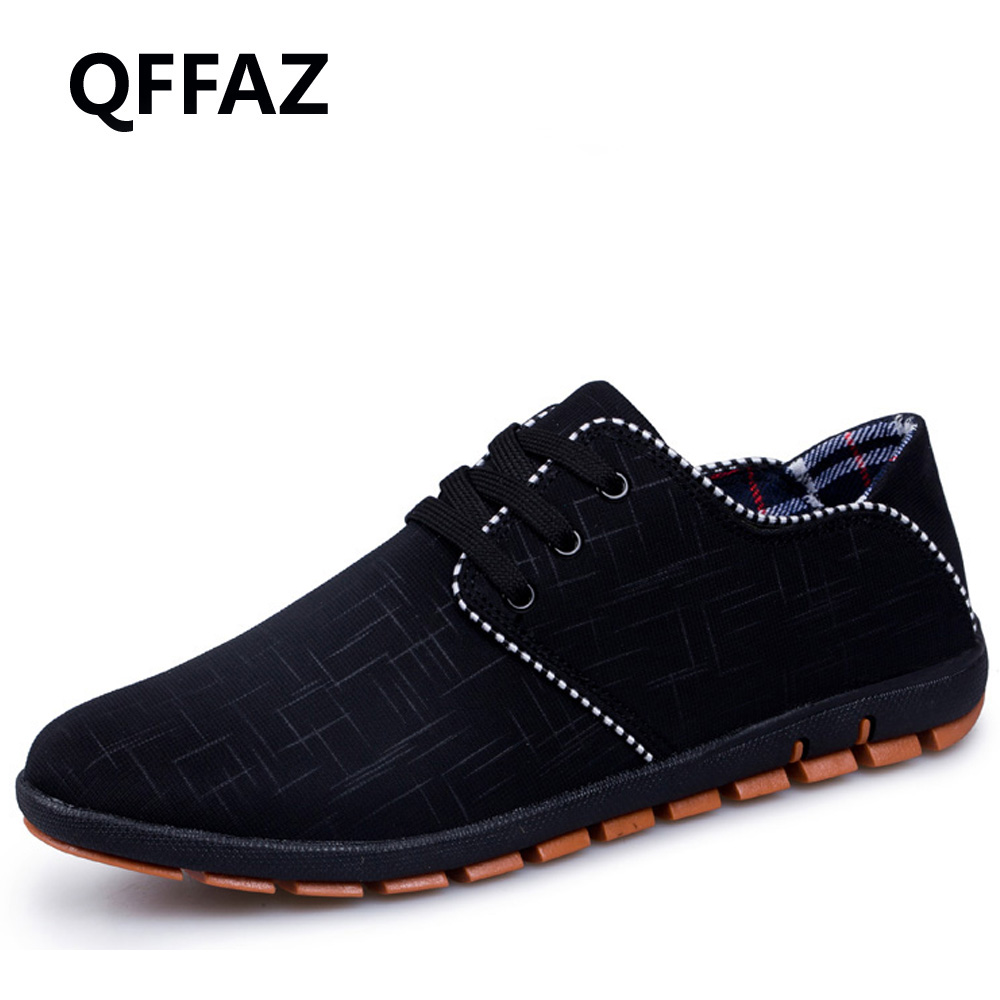 QFFAZ Spring/Summer High Quality Breathable Men Shoes Casual Fashion Lace-up Canvas Shoes Flats Zapatillas Hombre Big Size 38-47 qffaz new summer men casual shoes fashion leather shoes breathable casual british style lace up men casual shoes size 38 48