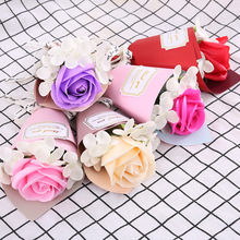single soap rose artificial flower forever hydrangea creative gift small flowers bouquet fake valentines