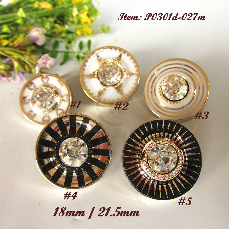 50pcs 21mm / 18mm Mixed patterns Rhinestone Coat buttons for sewing women / men clothing / decoration accessories wholesale