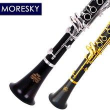 MORESKY Профессиональный кларнет из черного дерева падающая Мелодия B 17 ключ Посеребренная медь твердой древесины кларнет M1