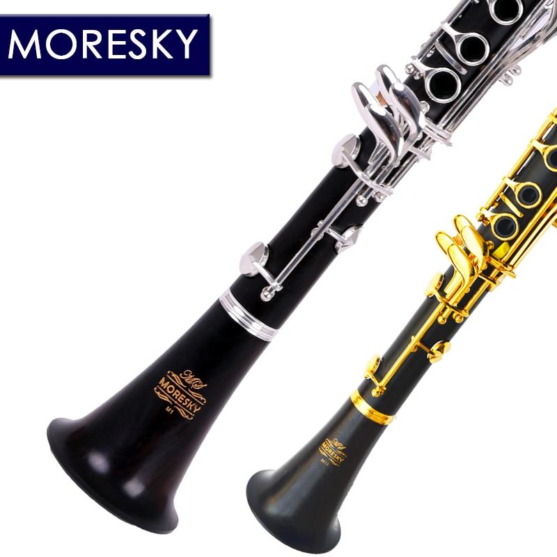 MORESKY Professional Ebony Clarinet Falling Tune B 17 Key Silver plated copper Solid wood clarinet M1
