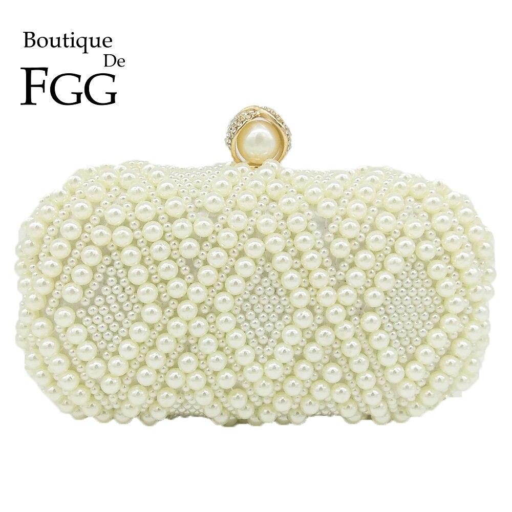 Boutique De Fgg Eleganz Geometrische Frauen Weiß Perlen Abendhandtasche Braut Hochzeit Sicken Handtasche Und Geldbörse