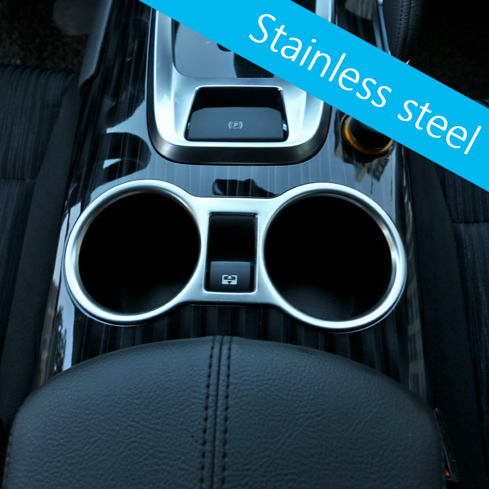 Car styling stainless steel water cup holder chromblenden cups cover interior chrome trim molding strip for