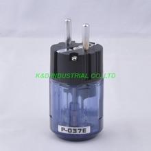 2pcs  Audio AMP Schuko EUR AC Power Plug Rhodium Plate Transparent Blue P037
