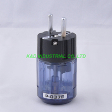 цена на 2pcs  Audio AMP Schuko EUR AC Power Plug Rhodium Plate Transparent Blue P037