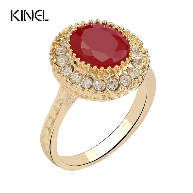 11.11 Super Ofertas Red Jewelry Vintage Wedding Rings For Women Fashion Gold Mosaic Crystal Oval Ring Christmas Gift