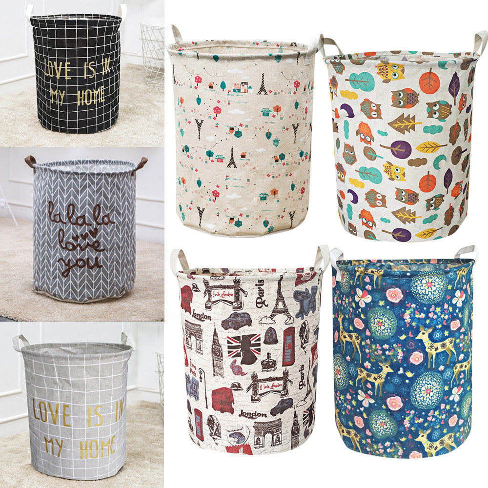 Storage-Basket Container Book-Organizer Canvas Laundry Waterproof Toy Underwear Stationery title=