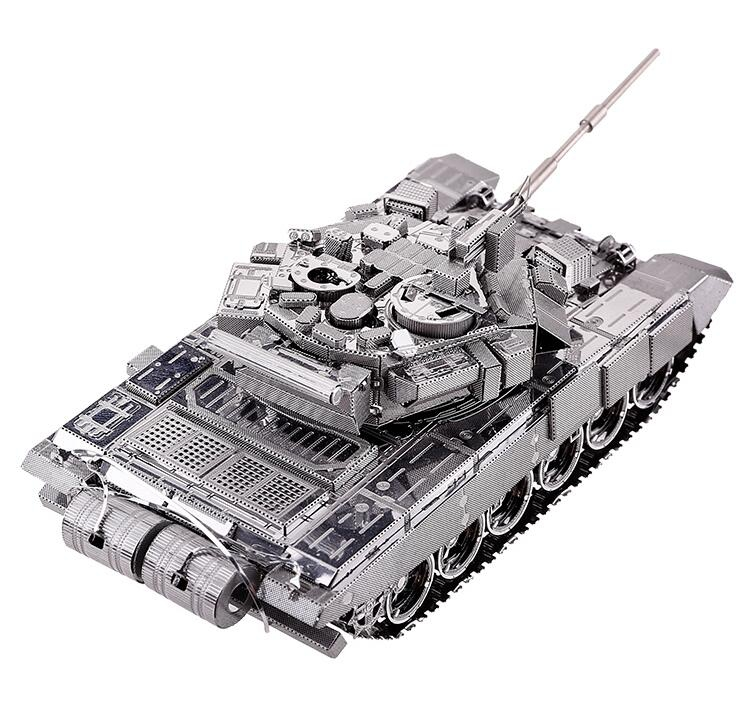 Piecefun DIY Military model Metal Works DIY 3D Laser Metal Models Assemble Miniature Metallic Nano T-90A MBT tank model Puzzle цены